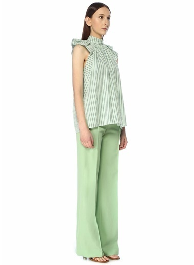 Victoria Victoria Beckham Victoria Victoria Beckham  Dik Yaka Çizgili Büzgülü Kolsuz Bluz 101500192 Yeşil